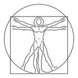 Leonardo da vinci homme de vitruve l anatomie humaine vecteur ligne art